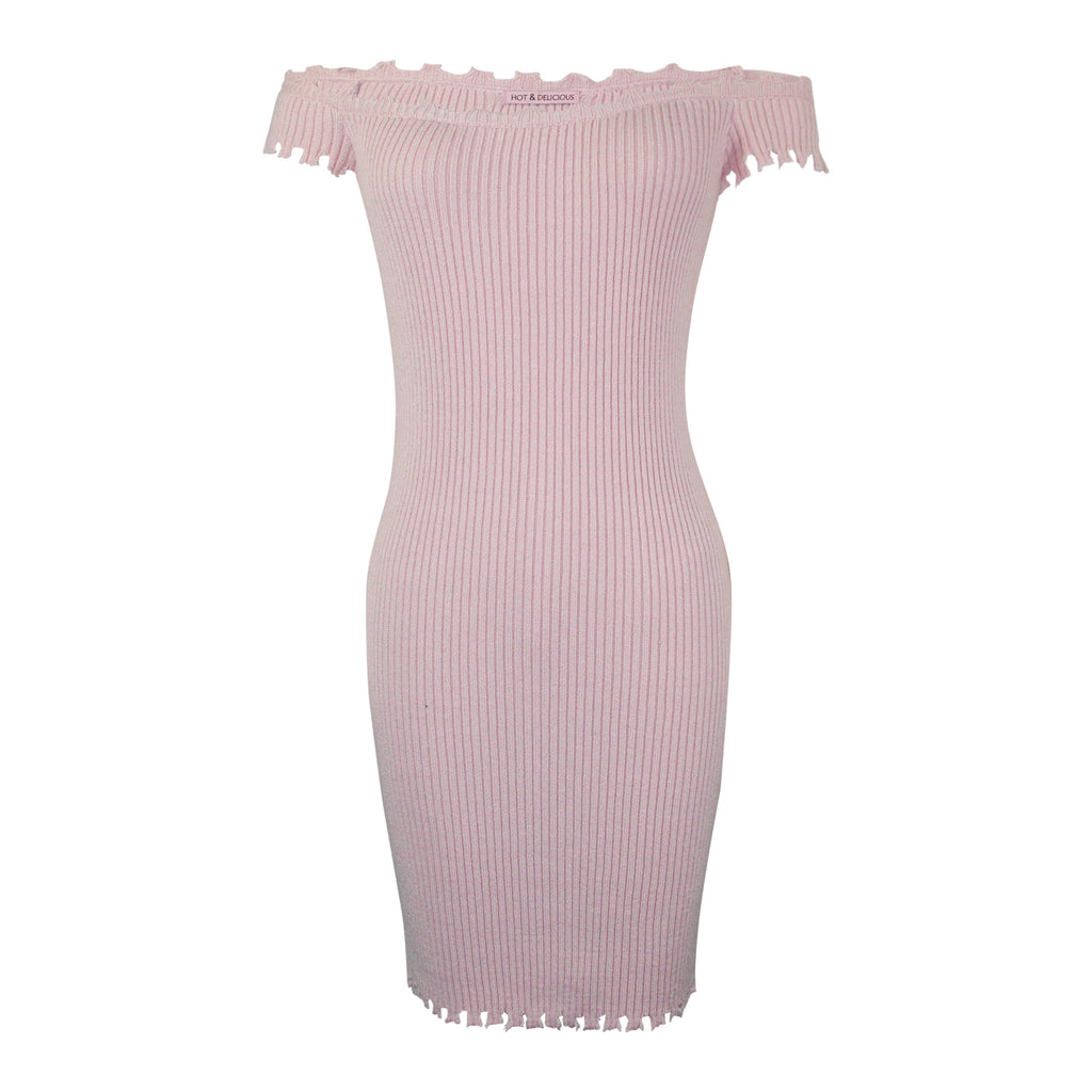 Hot & Delicious Blush Knit Off The Shoulder Dress Size M/L Muse Boutique Outlet | Shop Designer Clearance Dresses on Sale | Up to 90% Off Designer Fashion