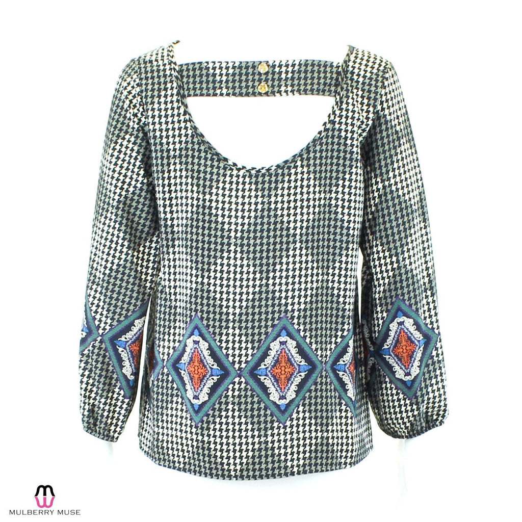 Karlie  Houndstooth Motif Print Blouse Size  Muse Boutique Outlet | Shop Designer Clearance Tops on Sale | Up to 90% Off Designer Fashion