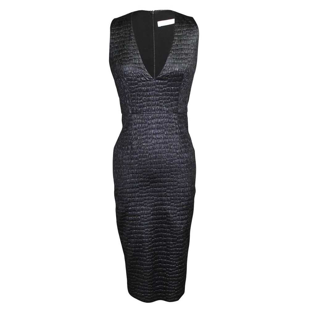 Hunter Bell Black Textured V-neck Cocktail Dress Size 2 Muse Boutique Outlet | Shop Designer Evening/Cocktail on Sale | Up to 90% Off Designer Fashion