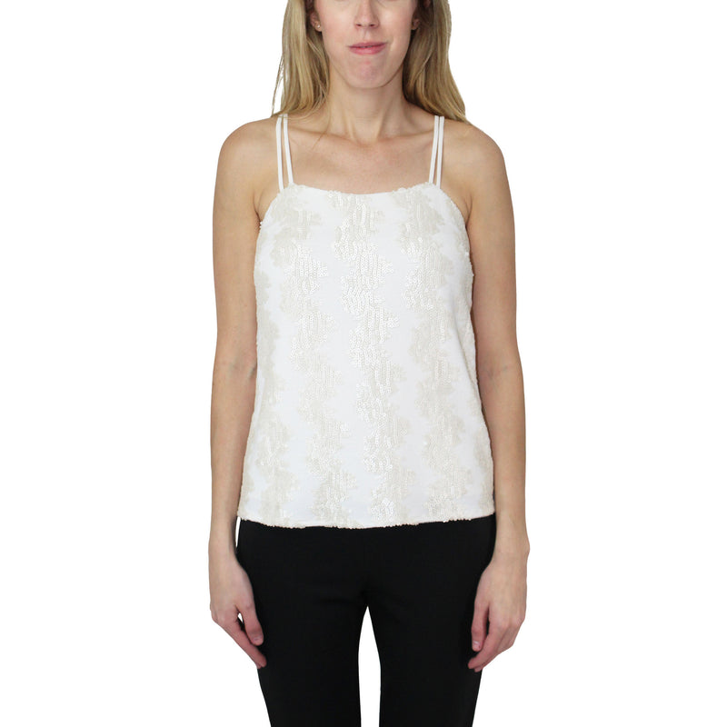 Hunter Bell Ivory Sequin Tank Top Size Small Muse Boutique Outlet | Shop Designer Clearance Tops on Sale | Up to 90% Off Designer Fashion