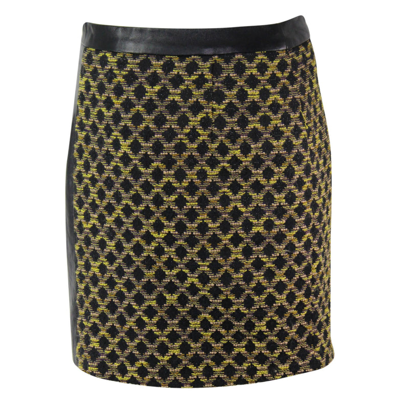 Hunter Bell  Leather Trim Twill Skirt Size  Muse Boutique Outlet | Shop Designer Clearance Skirts on Sale | Up to 90% Off Designer Fashion