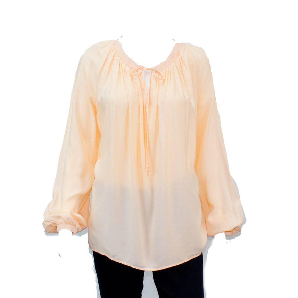 Hutch Peach Gathered Neck Blouse Size Large Muse Boutique Outlet | Shop Designer Clearance Tops on Sale | Up to 90% Off Designer Fashion