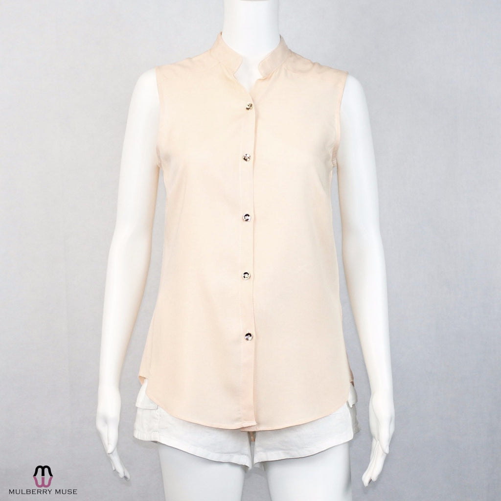 Hutch Peach Sleeveless Button Down Blouse Size Extra Small Muse Boutique Outlet | Shop Designer Clearance Tops on Sale | Up to 90% Off Designer Fashion