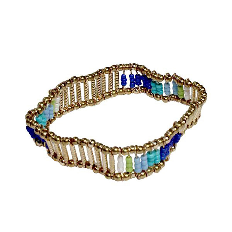 Private Label Blue Beaded Stretch Bracelet Size OSFA Muse Boutique Outlet | Shop Designer Clearance Jewelry on Sale | Up to 90% Off Designer Fashion
