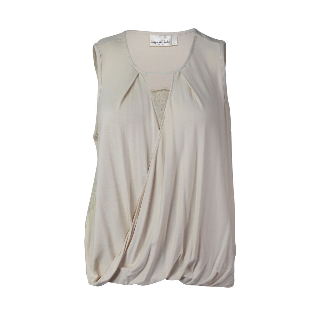 Kaya di Koko Ivory Knit and Lace Top Size Small Muse Boutique Outlet | Shop Designer Clearance Tops on Sale | Up to 90% Off Designer Fashion