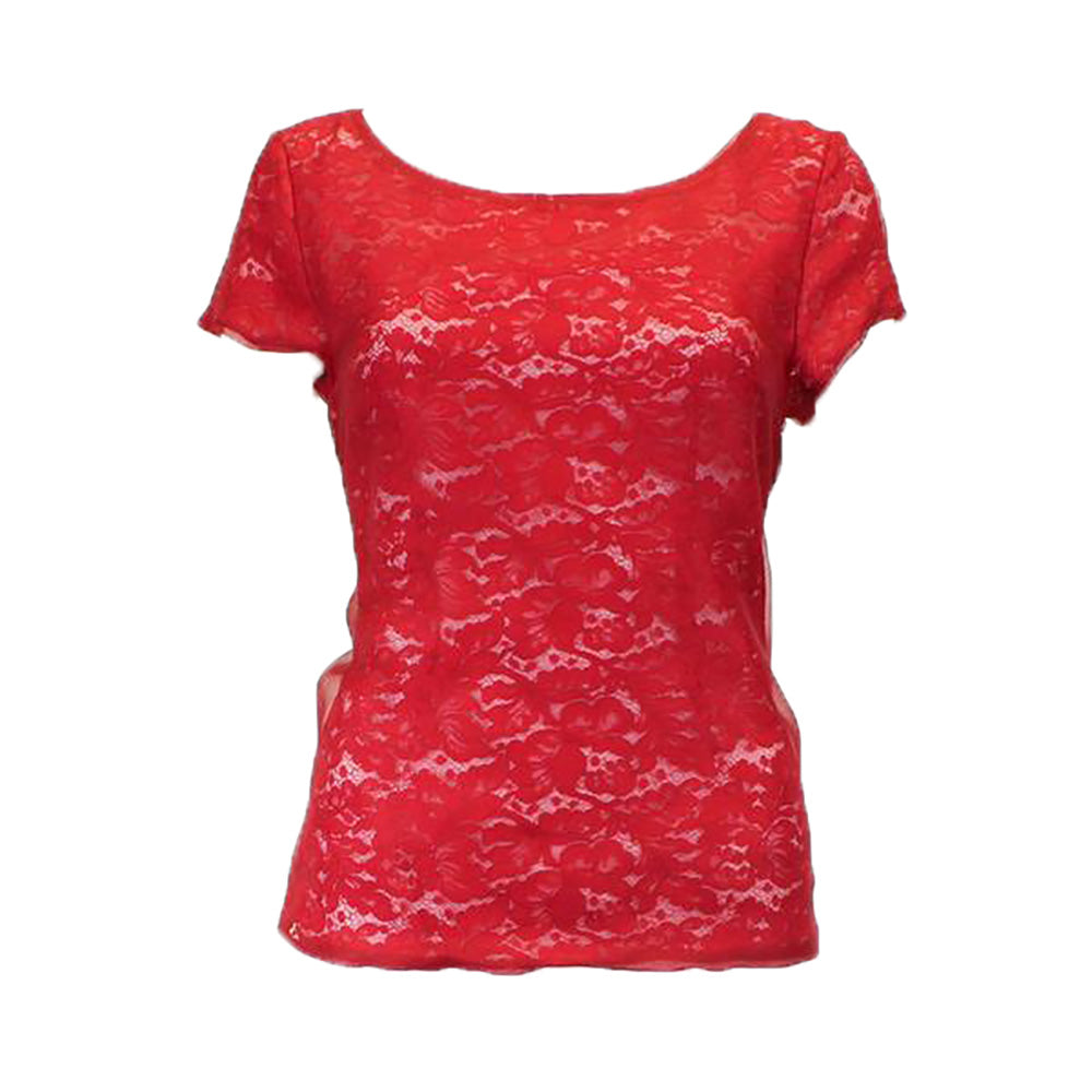 Nonoo Red Short-Sleeve Organza Lace Top Size 4 Muse Boutique Outlet | Shop Designer Clearance Tops on Sale | Up to 90% Off Designer Fashion