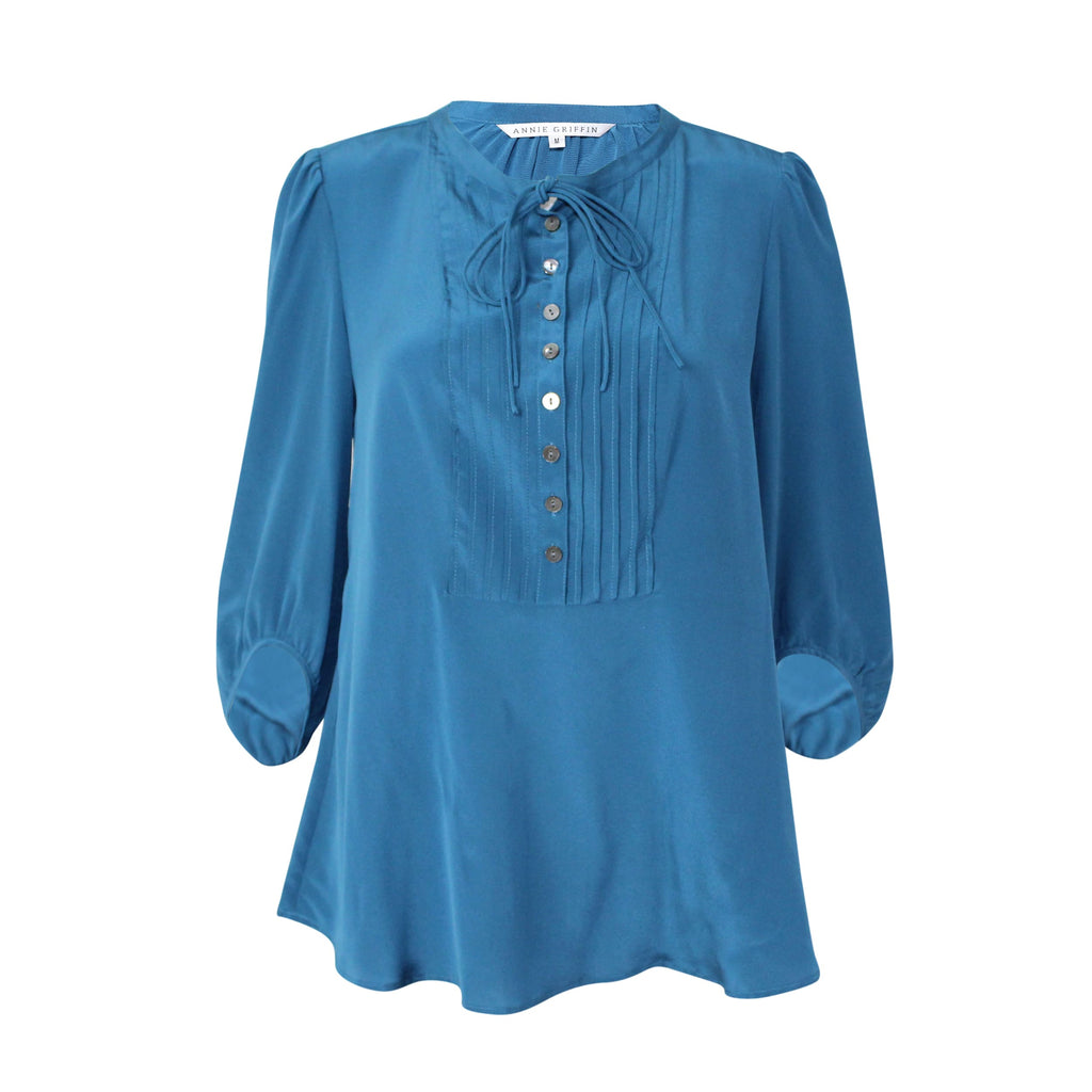 Annie Griffin Teal Herring Blouse Size Medium Muse Boutique Outlet | Shop Designer Clearance Tops on Sale | Up to 90% Off Designer Fashion