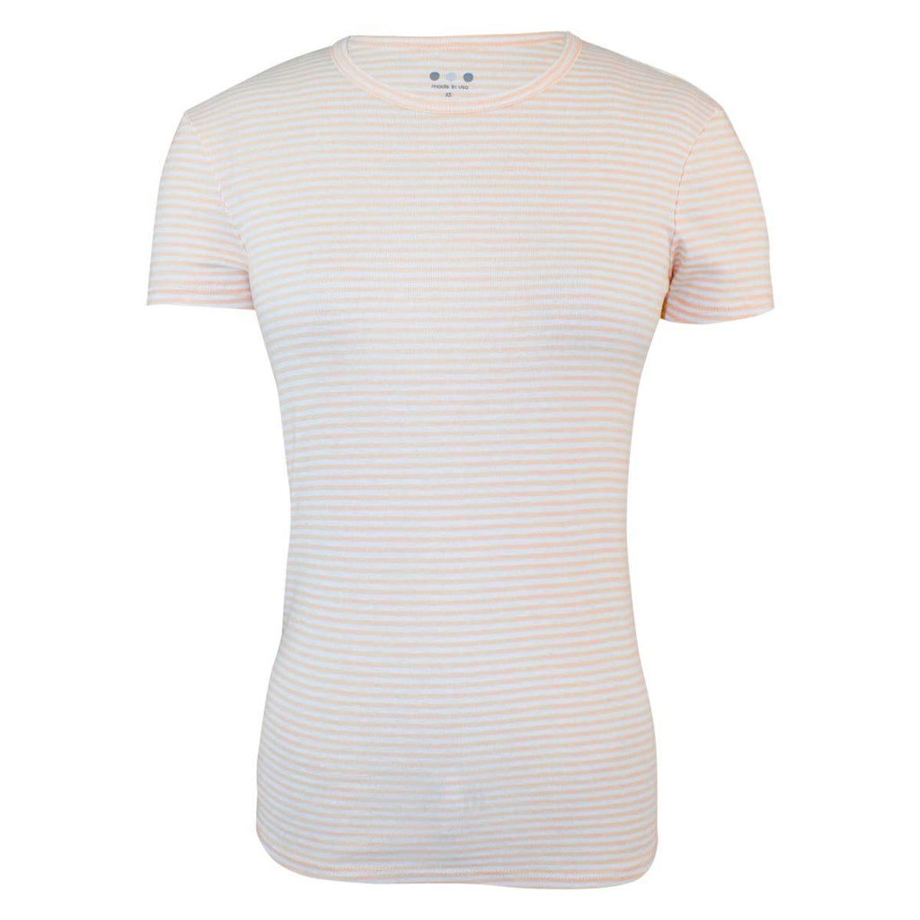 Three Dots Peach, White Striped Short Sleeve Shirt Size Extra Small Muse Boutique Outlet | Shop Designer Clearance Tops on Sale | Up to 90% Off Designer Fashion