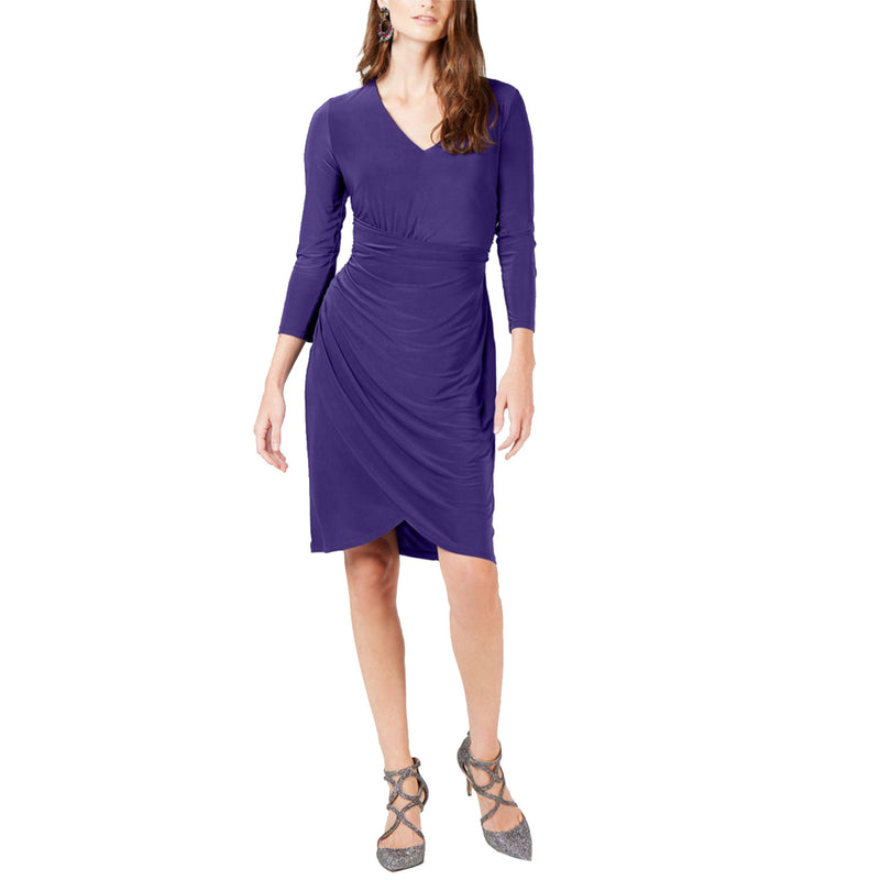 INC Purple Passion Ruched 3/4-Sleeve Dress Size Medium Muse Boutique Outlet | Shop Designer Clearance Dresses on Sale | Up to 90% Off Designer Fashion