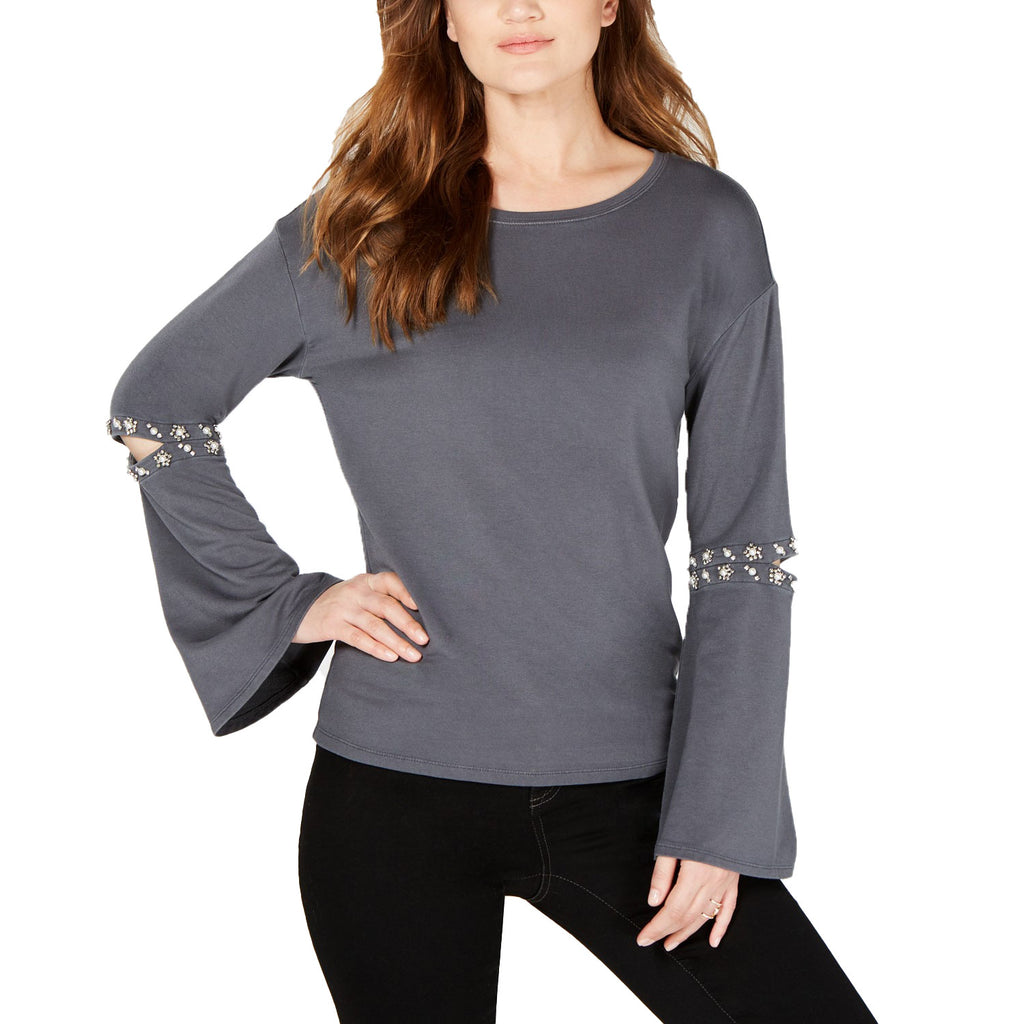 INC Grey Embellished Cutout Elbow Top Size Medium Muse Boutique Outlet | Shop Designer Clearance Tops on Sale | Up to 90% Off Designer Fashion