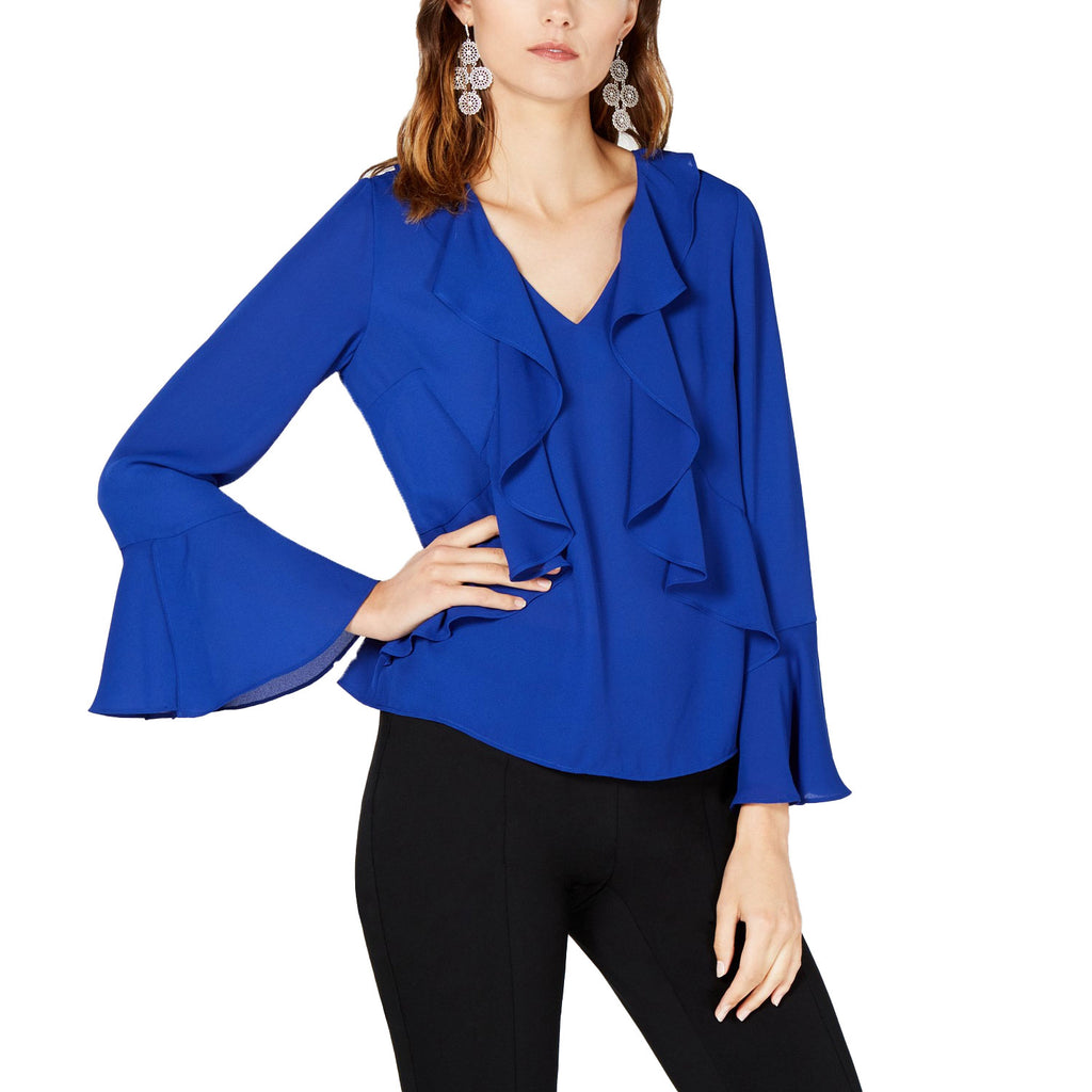 INC Blue Ruffled Blouse Size Large Muse Boutique Outlet | Shop Designer Long Sleeve Tops on Sale | Up to 90% Off Designer Fashion
