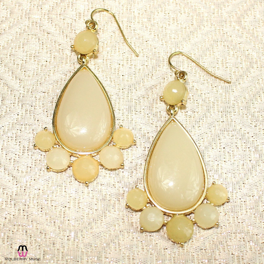 Private Label Ivory/Gold Ivory Oval Beaded Drop Earring Size OSFA Muse Boutique Outlet | Shop Designer Clearance Jewelry on Sale | Up to 90% Off Designer Fashion