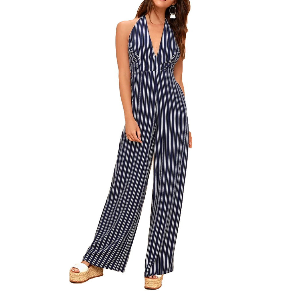 Jack by BB Dakota Dark Blue All The Way Up Striped Halter Jumpsuit Size 6 Muse Boutique Outlet | Shop Designer Rompers & Jumpsuits on Sale | Up to 90% Off Designer Fashion