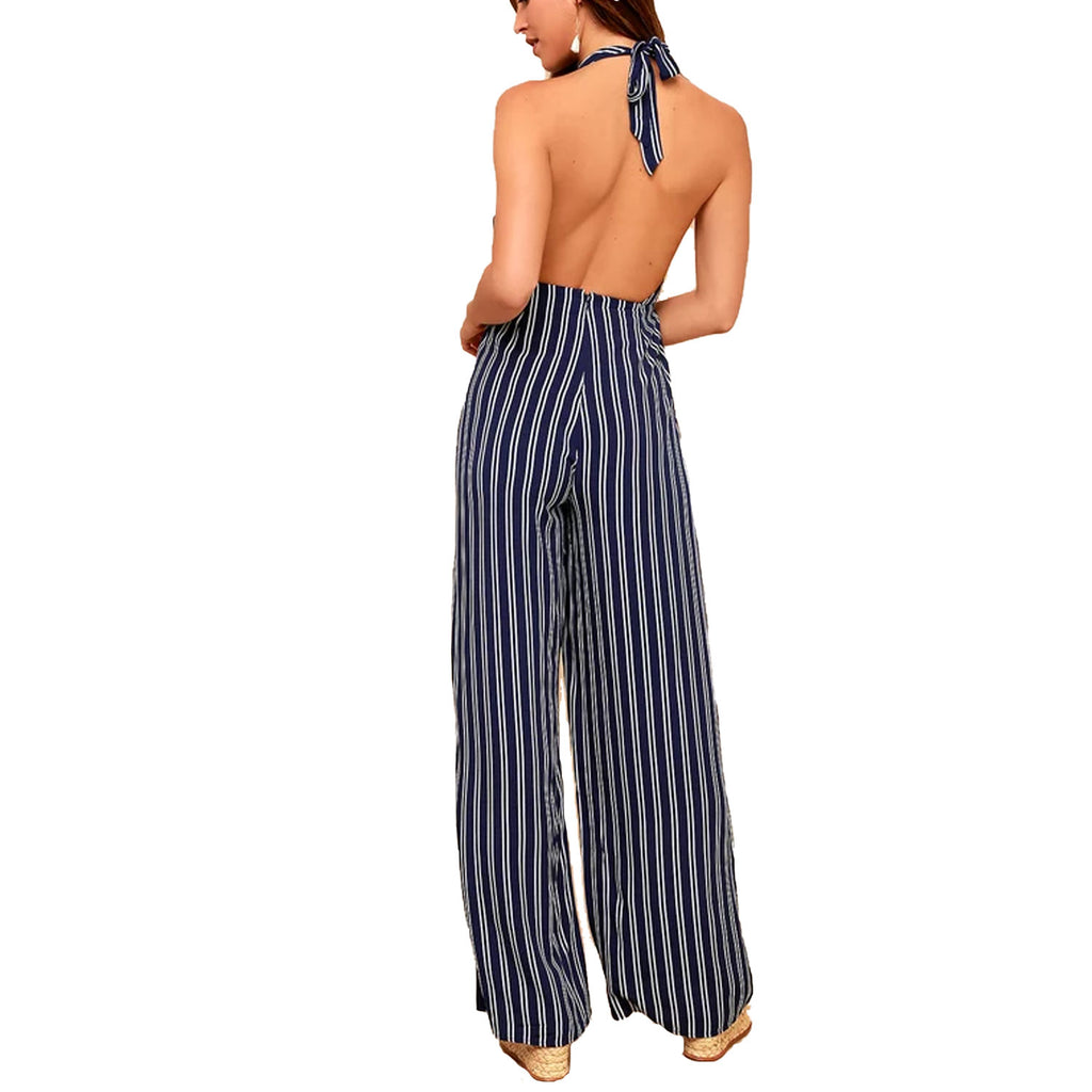 Jack by BB Dakota  All The Way Up Striped Halter Jumpsuit Size  Muse Boutique Outlet | Shop Designer Rompers & Jumpsuits on Sale | Up to 90% Off Designer Fashion