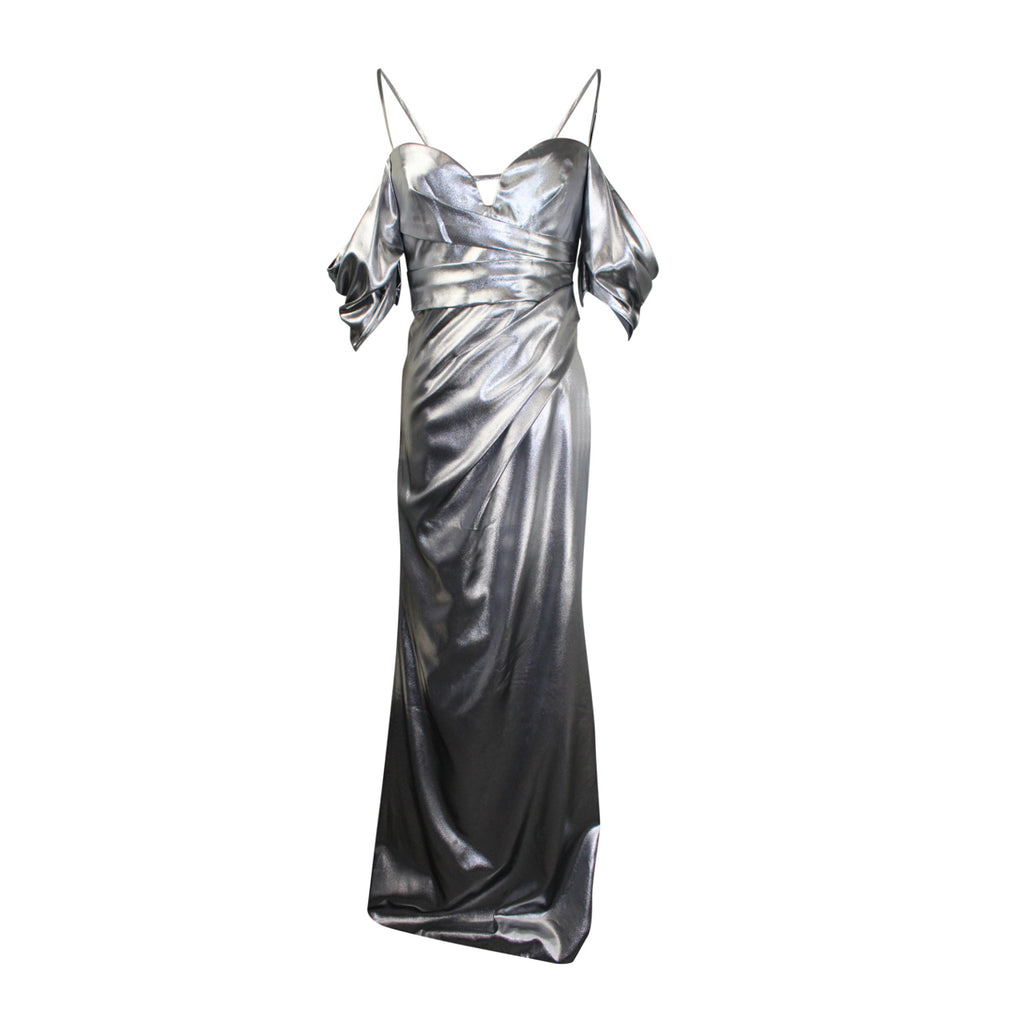 J Mendel Pewter Metallic Off-Shoulder Gown Size 4 Muse Boutique Outlet | Shop Designer Evening/Cocktail on Sale | Up to 90% Off Designer Fashion