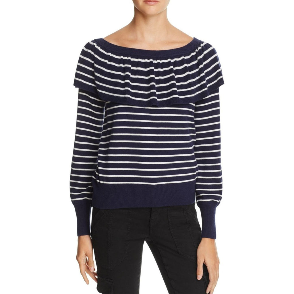 Joie Deep Navy/Porcelain Off The Shoulder Sweater Size Extra Small Muse Boutique Outlet | Shop Designer Sweaters on Sale | Up to 90% Off Designer Fashion