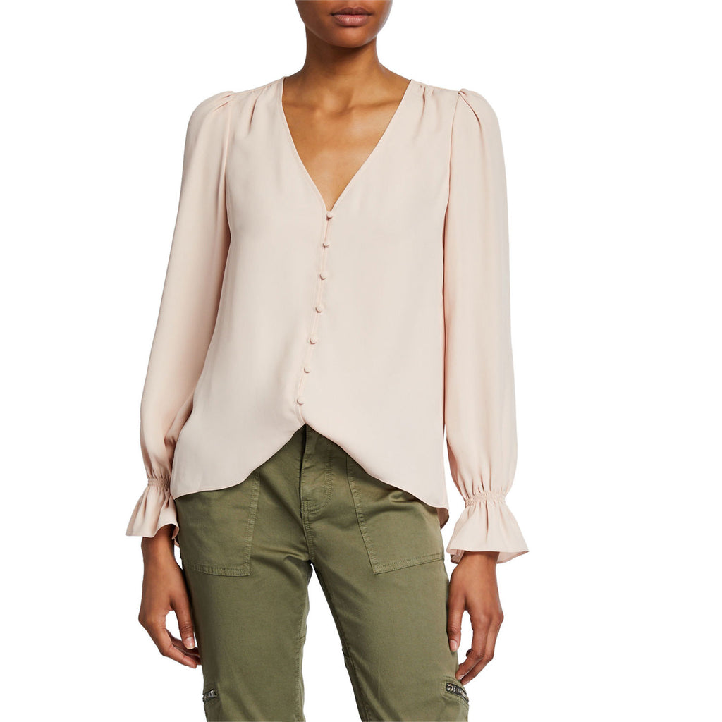 Joie Pink Sky Bolona Button Front Top Size Large Muse Boutique Outlet | Shop Designer Long Sleeve Tops on Sale | Up to 90% Off Designer Fashion