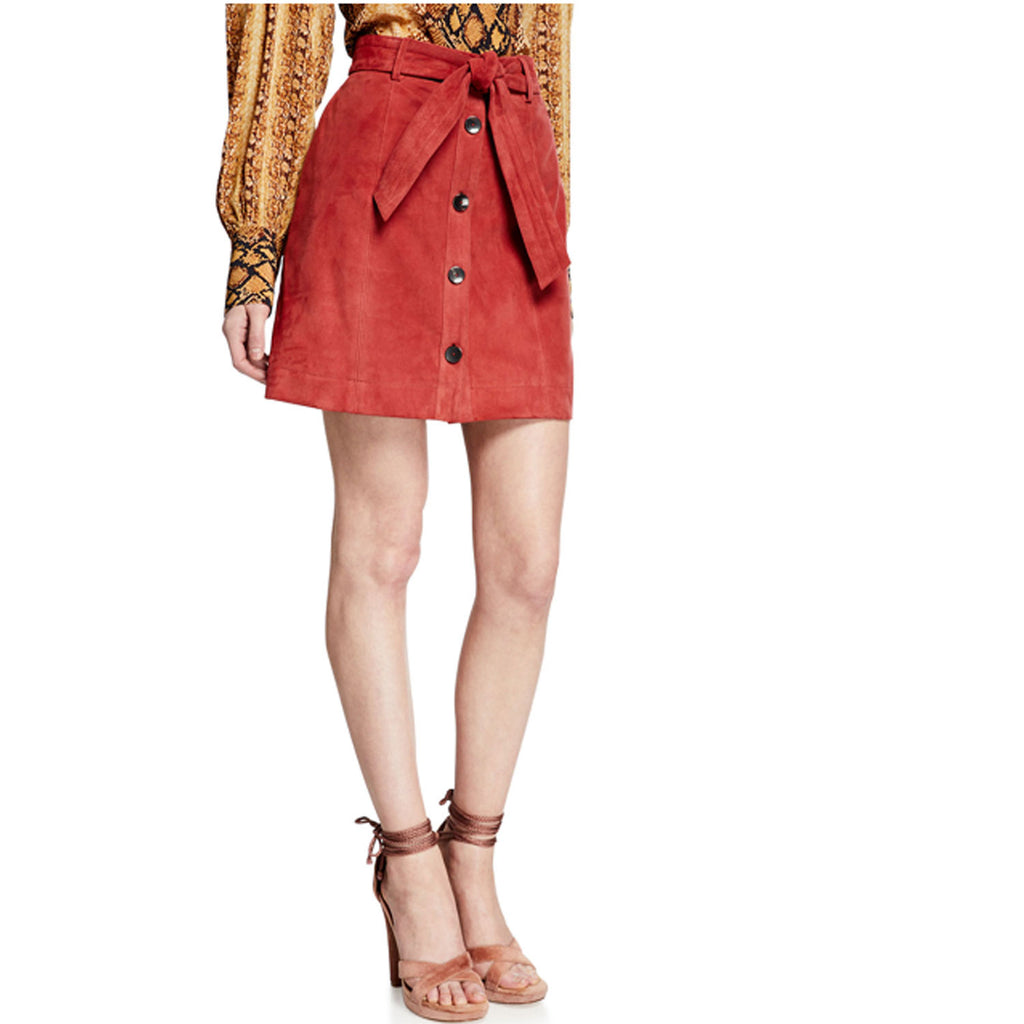 Joie Brick Neida Suede Skirt Size 8 Muse Boutique Outlet | Shop Designer Skirts on Sale | Up to 90% Off Designer Fashion