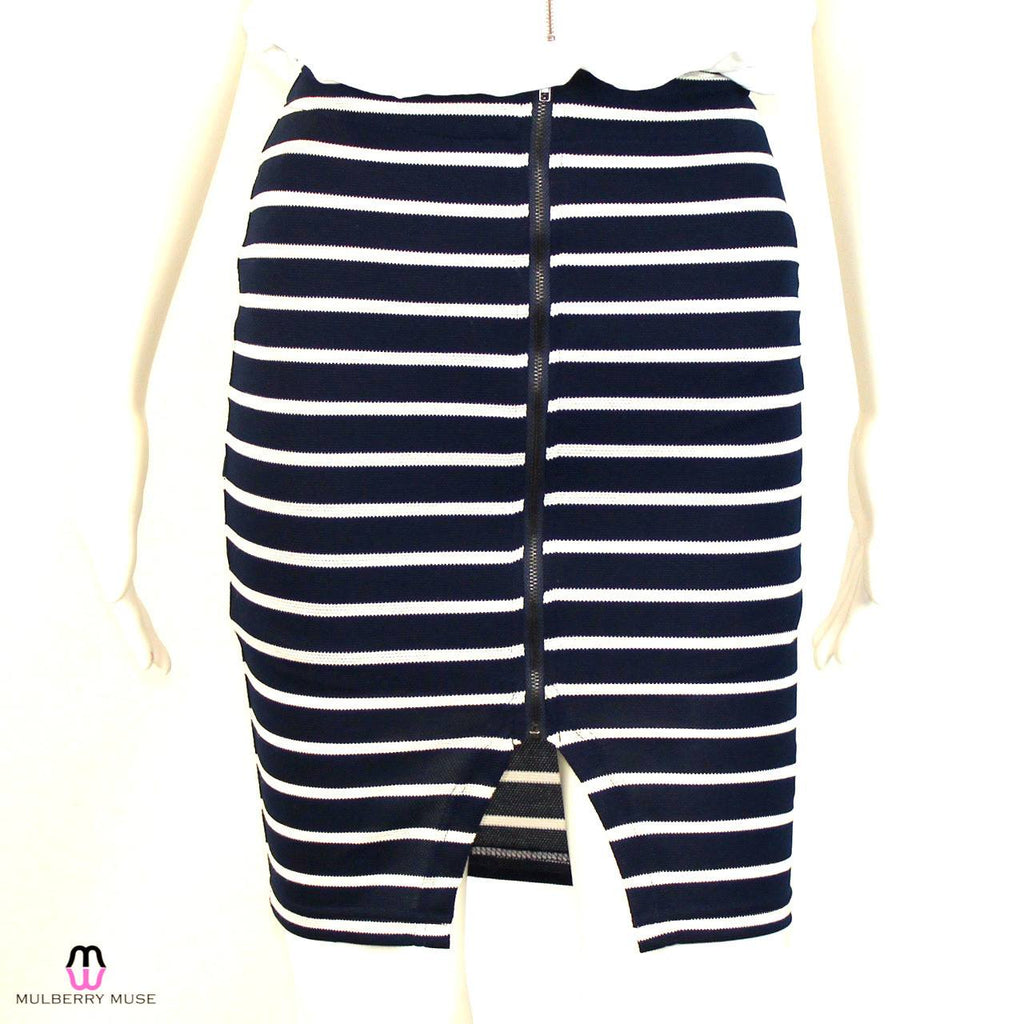 J.O.A. Navy/White Striped Skirt Size Extra Small Muse Boutique Outlet | Shop Designer Clearance Skirts on Sale | Up to 90% Off Designer Fashion