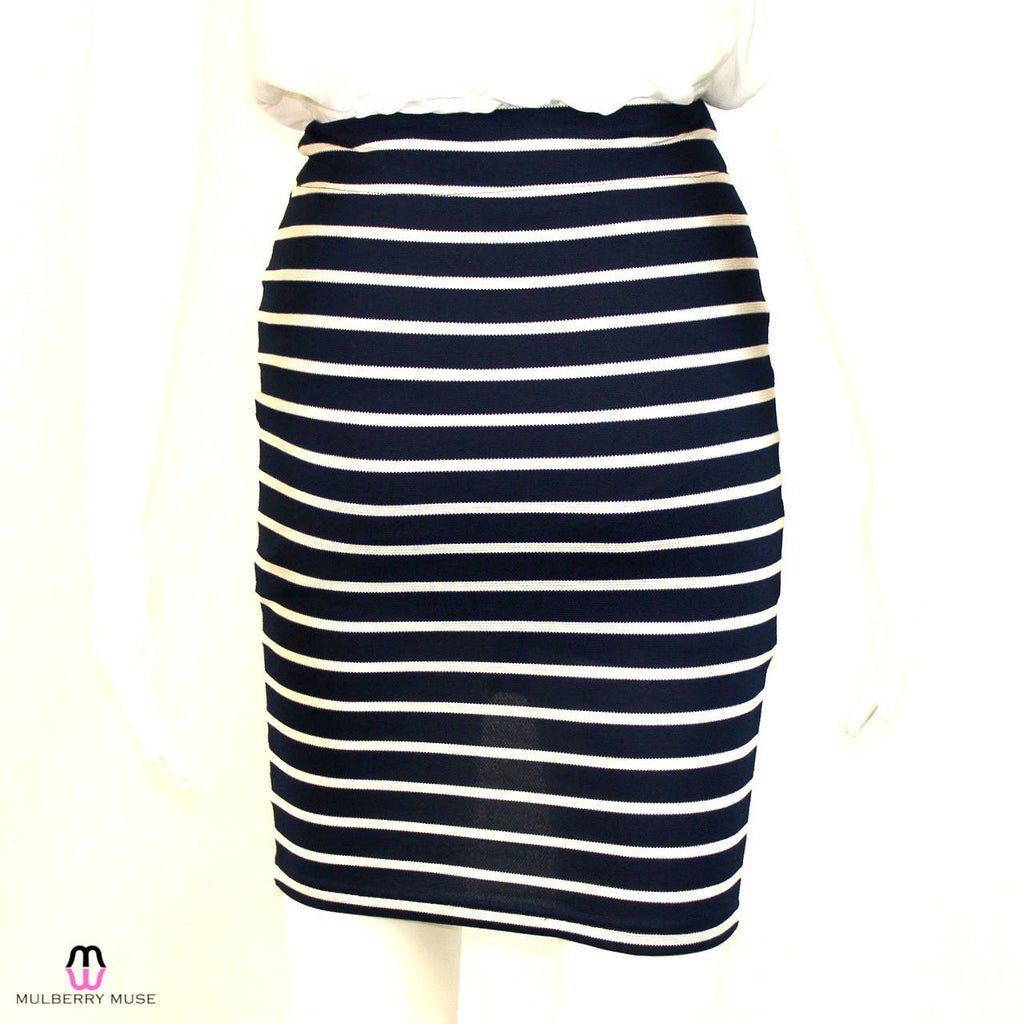 J.O.A.  JOA Los Angeles Navy and White Striped Skirt Size  Muse Boutique Outlet | Shop Designer Clearance Skirts on Sale | Up to 90% Off Designer Fashion