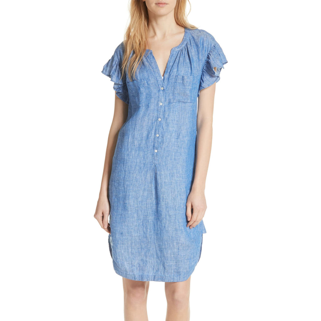 Joie Blue Fermina Ruffle Sleeve Linen Dress Size Large Muse Boutique Outlet | Shop Designer Dresses on Sale | Up to 90% Off Designer Fashion