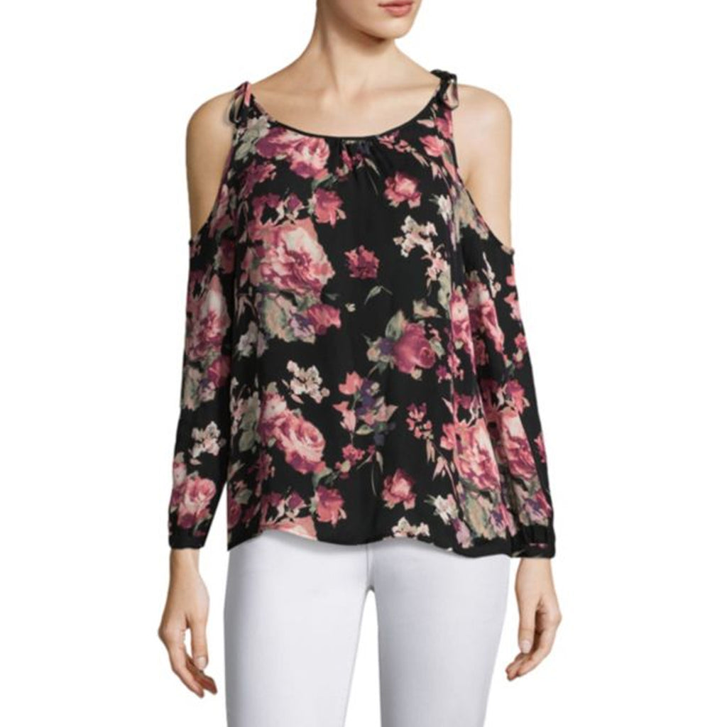 Joie Caviar Jilette Floral Cold Shoulder Blouse Size Large Muse Boutique Outlet | Shop Designer Three Quarter Sleeve Tops on Sale | Up to 90% Off Designer Fashion
