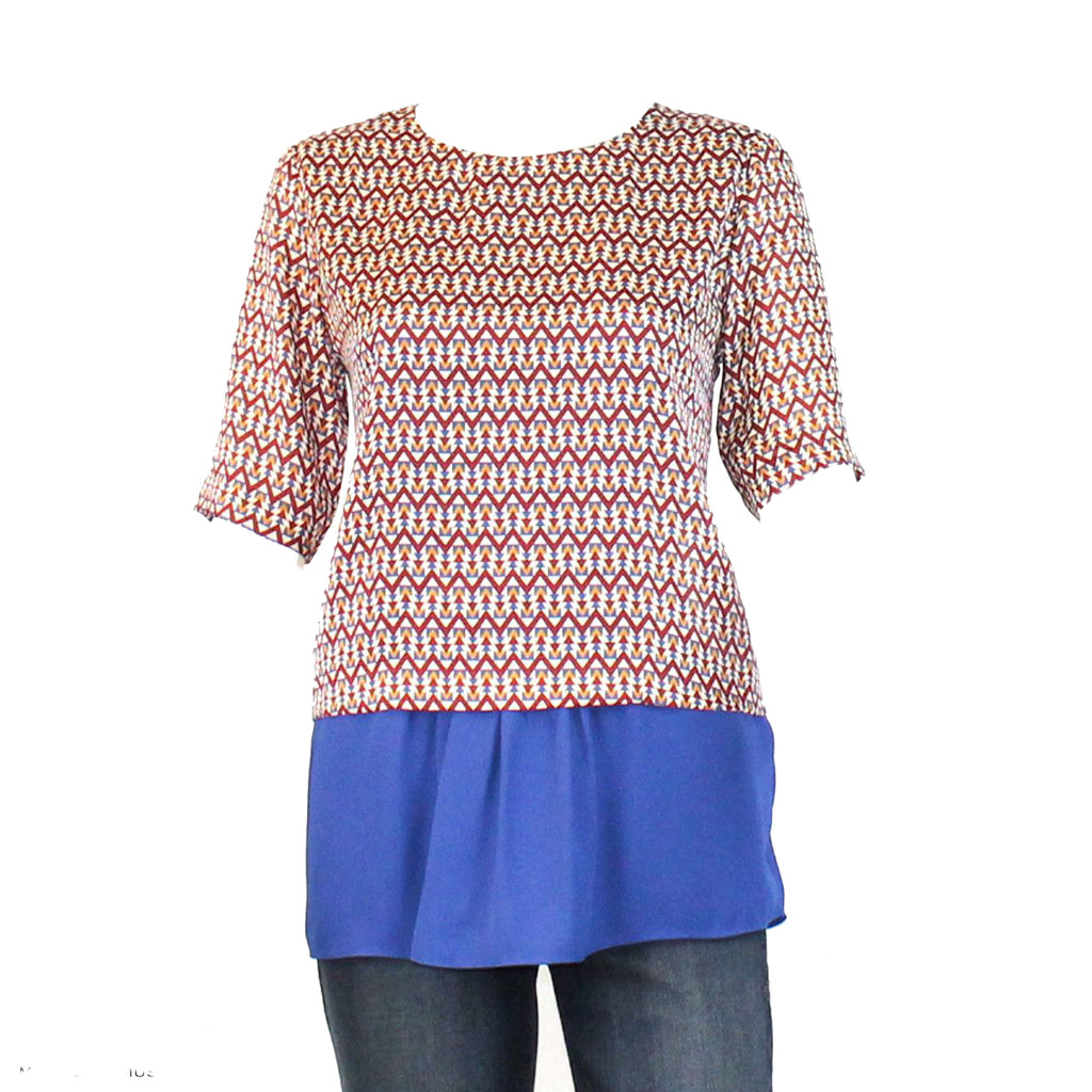 Joy Joy Multi/Royal Blue Diamond Printed Peplum Blouse Size Medium Muse Boutique Outlet | Shop Designer Clearance Tops on Sale | Up to 90% Off Designer Fashion