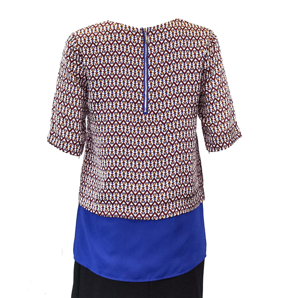 Joy Joy  Diamond Printed Peplum Blouse Size  Muse Boutique Outlet | Shop Designer Clearance Tops on Sale | Up to 90% Off Designer Fashion