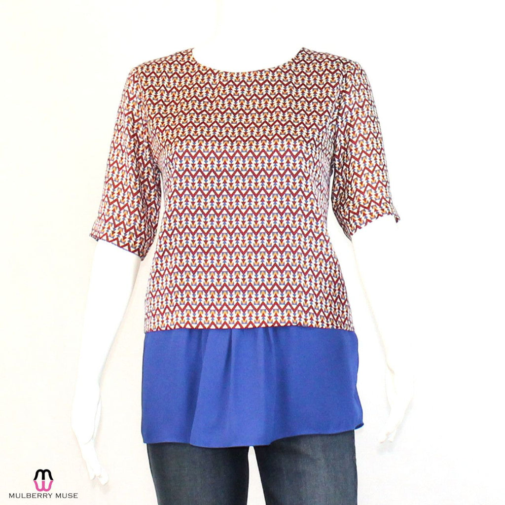 Joy Joy Multi/Royal Blue Printed Peplum Blouse Size Extra Small Muse Boutique Outlet | Shop Designer Clearance Tops on Sale | Up to 90% Off Designer Fashion