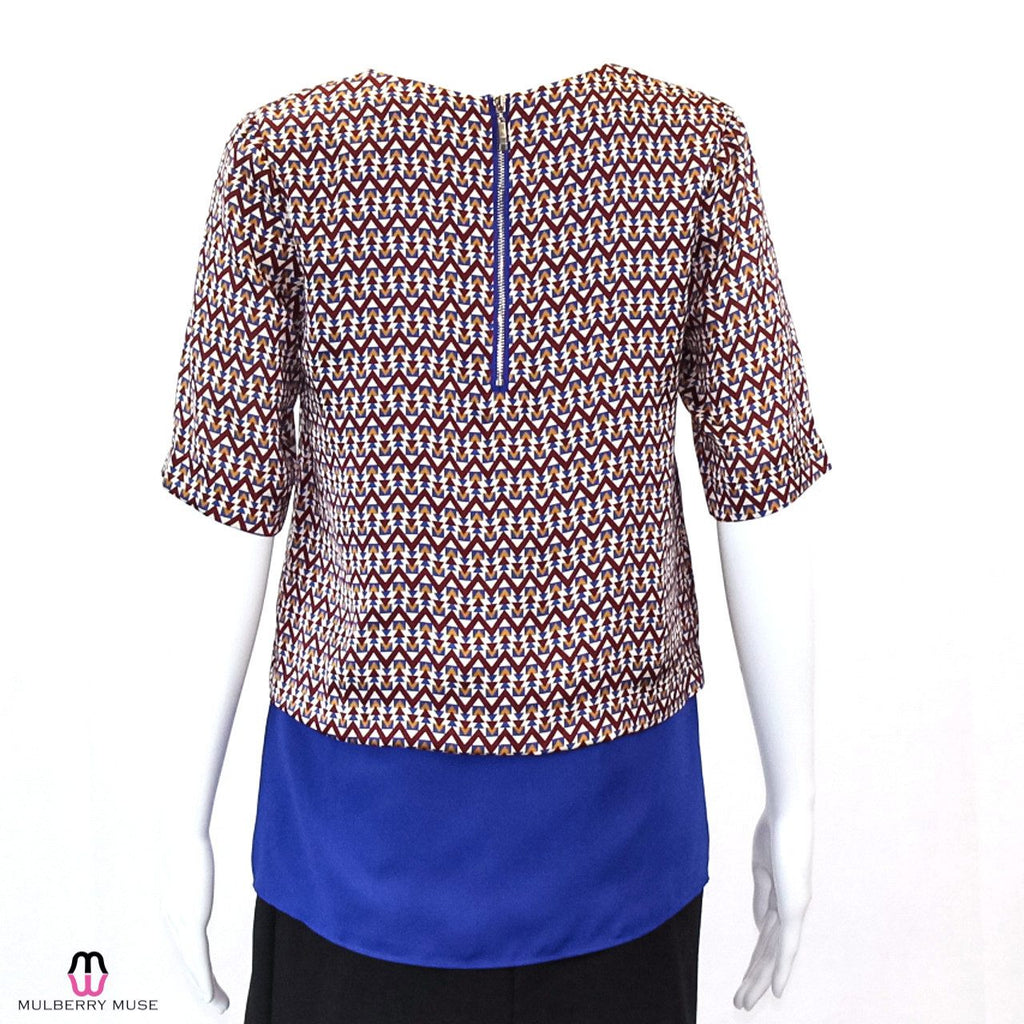 Joy Joy  Printed Peplum Blouse Size  Muse Boutique Outlet | Shop Designer Clearance Tops on Sale | Up to 90% Off Designer Fashion