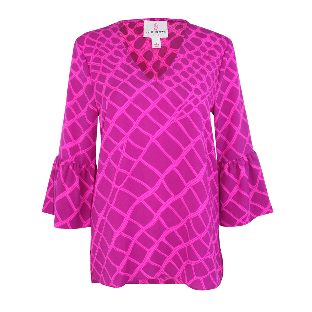 Julie Brown  Printed V Neck Blouse Size  Muse Boutique Outlet | Shop Designer Long Sleeve Tops on Sale | Up to 90% Off Designer Fashion
