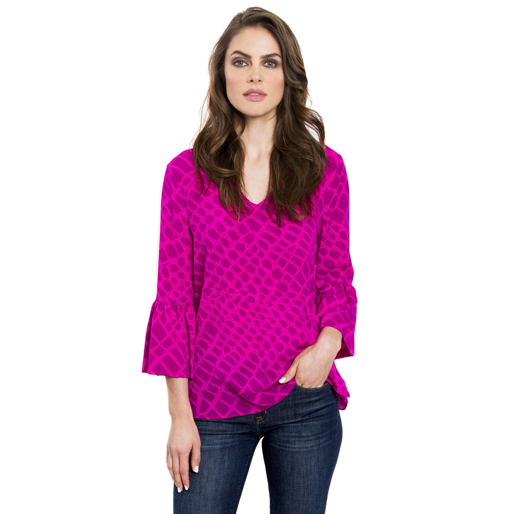 Julie Brown Berry Alligator Printed V Neck Blouse Size 4 Muse Boutique Outlet | Shop Designer Long Sleeve Tops on Sale | Up to 90% Off Designer Fashion