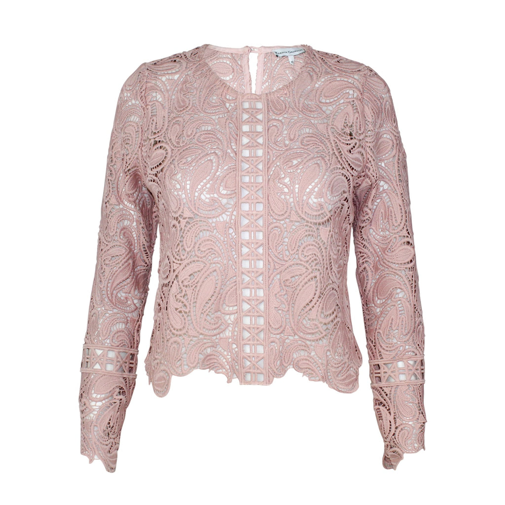 Karina Grimaldi Blush Guipure Lace Long Sleeve Blouse Size Extra Small Muse Boutique Outlet | Shop Designer Long Sleeve Tops on Sale | Up to 90% Off Designer Fashion