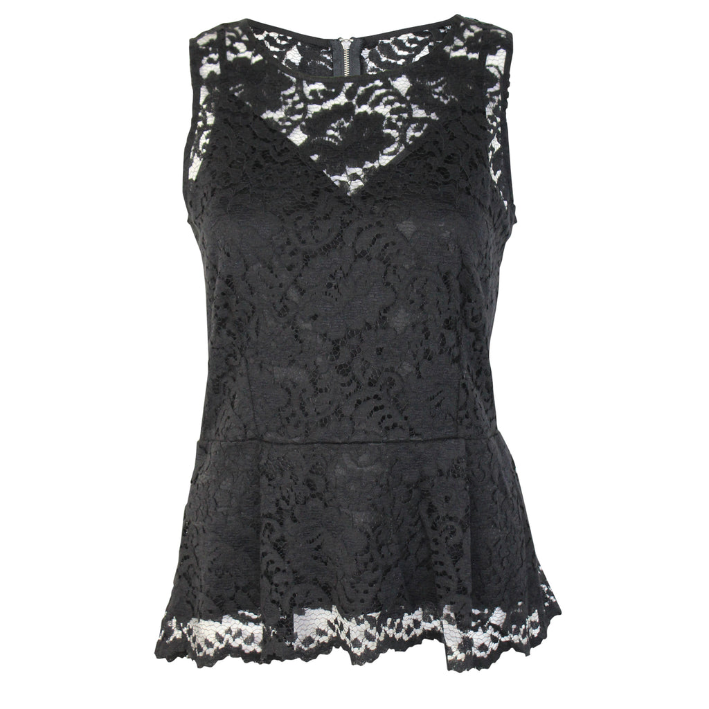 Kay Celine Black Lace Peplum Tank Size Extra Small Muse Boutique Outlet | Shop Designer Clearance Tops on Sale | Up to 90% Off Designer Fashion