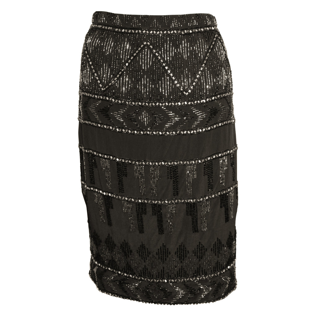 Karina Grimaldi Black Kiara Beaded Skirt Size Small Muse Boutique Outlet | Shop Designer Clearance Skirts on Sale | Up to 90% Off Designer Fashion