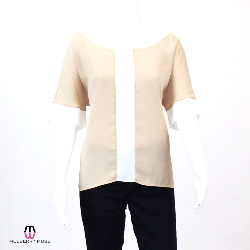 Karlie Nude/White Colorblock Scoop Neck Blouse Size Small Muse Boutique Outlet | Shop Designer Clearance Tops on Sale | Up to 90% Off Designer Fashion