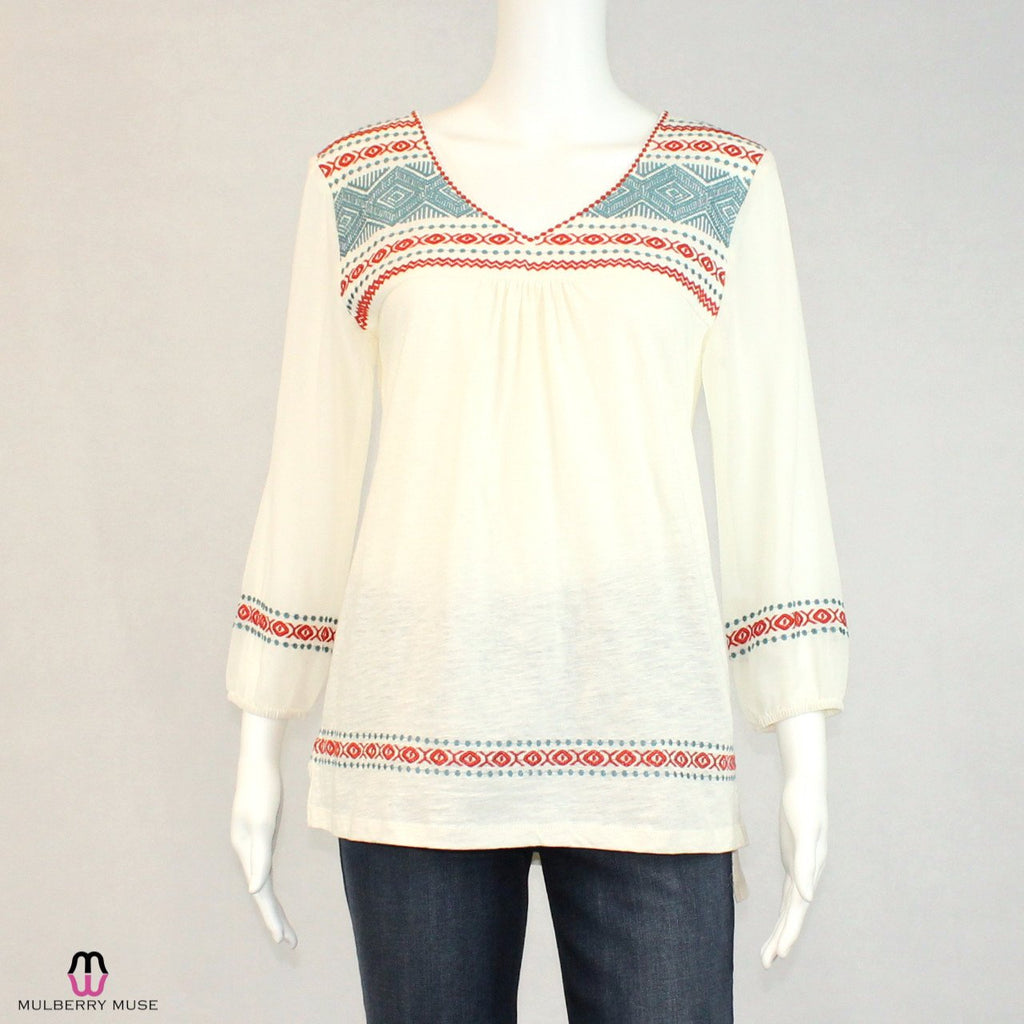 Karlie Ivory Embroidered Top Size Small Muse Boutique Outlet | Shop Designer Clearance Tops on Sale | Up to 90% Off Designer Fashion