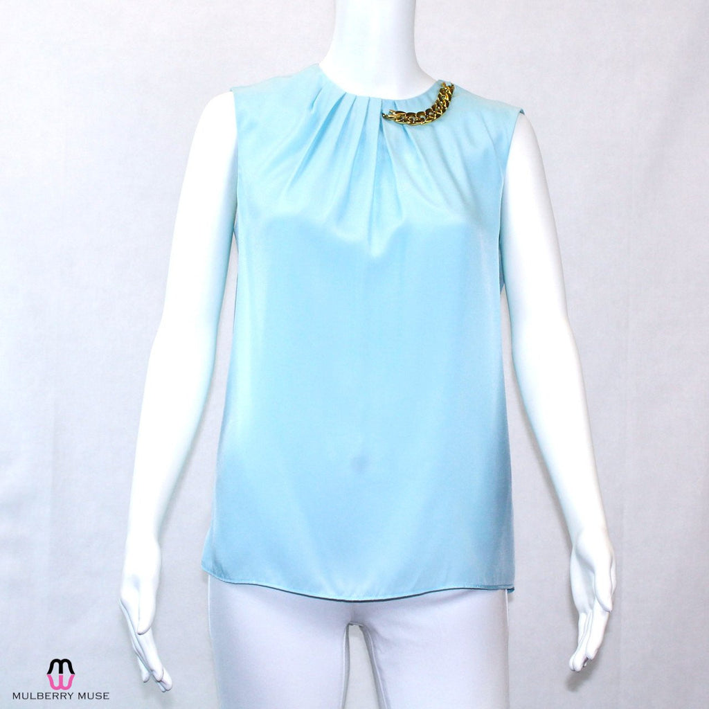 Katherine Barclay Aqua Chain Detail Blouse Size Extra Small Muse Boutique Outlet | Shop Designer Clearance Tops on Sale | Up to 90% Off Designer Fashion