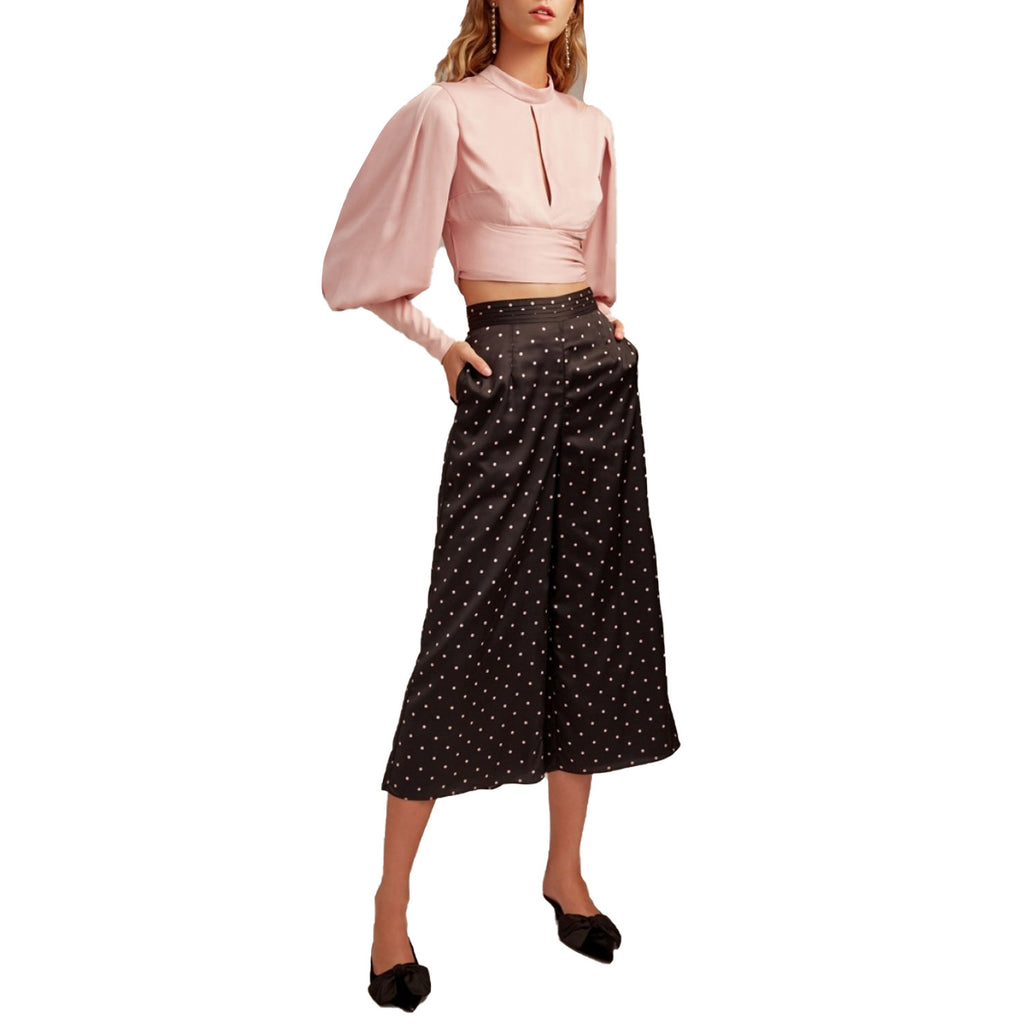 Keepsake Black Polka Dot Cropped Wide Leg Pant Size Medium Muse Boutique Outlet | Shop Designer Clearance Bottoms on Sale | Up to 90% Off Designer Fashion