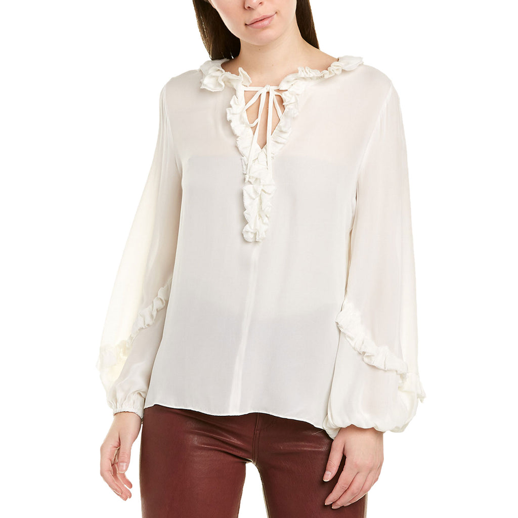 Kobi Halperin Ivory Angie Ruffle Blouse Size Medium Muse Boutique Outlet | Shop Designer Long Sleeve Tops on Sale | Up to 90% Off Designer Fashion