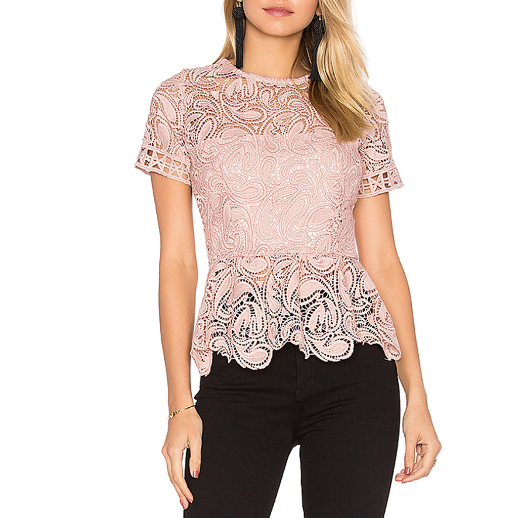 Karina Grimaldi Pink Rosa Lace Top Size Medium Muse Boutique Outlet | Shop Designer Short Sleeve Tops on Sale | Up to 90% Off Designer Fashion