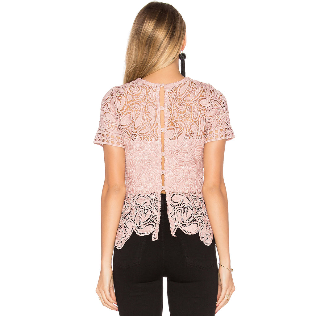 Karina Grimaldi  Rosa Lace Top Size  Muse Boutique Outlet | Shop Designer Short Sleeve Tops on Sale | Up to 90% Off Designer Fashion