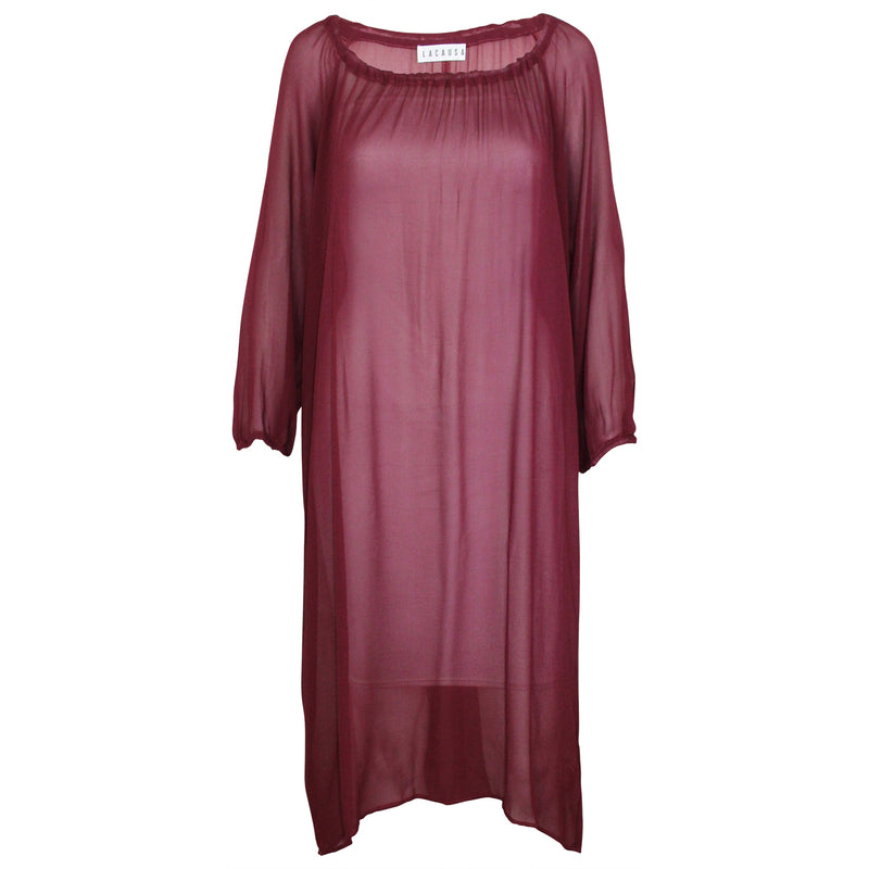 Lacausa Burgundy Gathered Neckline Dress Size Extra Small Muse Boutique Outlet | Shop Designer Dresses on Sale | Up to 90% Off Designer Fashion