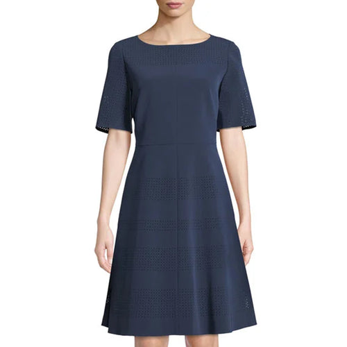 Lafayette 148 Tamera Perforated A-Line Dress 6 Navy Muse Boutique Outlet