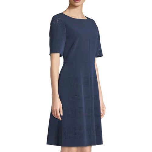 Lafayette 148 Tamera Perforated A-Line Dress   Muse Boutique Outlet