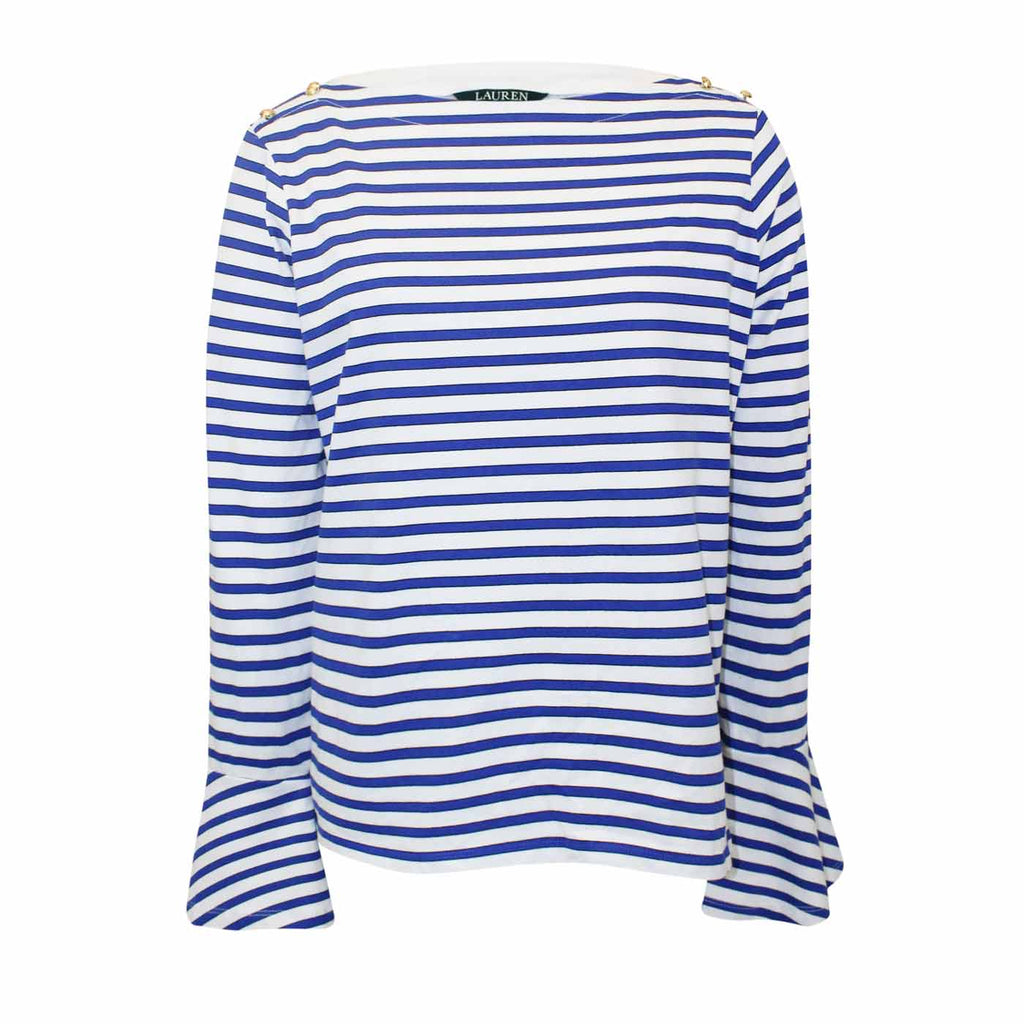 Lauren By Ralph lauren Blue/White Adelaide Striped Top Size Petite Large Muse Boutique Outlet | Shop Designer Clearance Tops on Sale | Up to 90% Off Designer Fashion