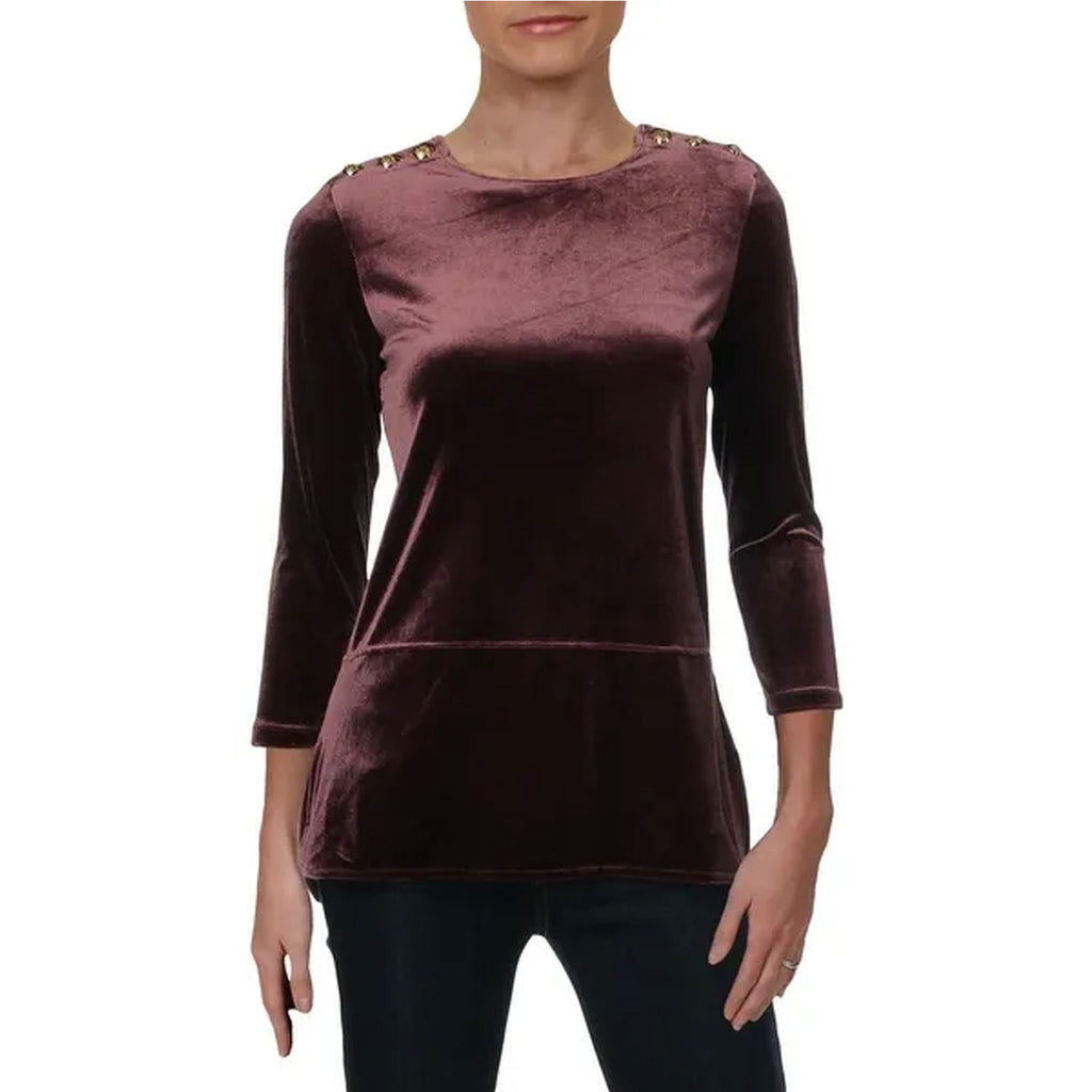 Lauren by Ralph Lauren Purple Petite Velveteen 3/4 Sleeve Top Size Extra Small Muse Boutique Outlet | Shop Designer Three Quarter Sleeve Tops on Sale | Up to 90% Off Designer Fashion