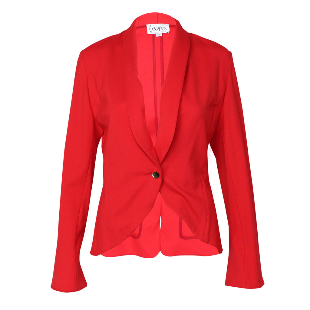 Leona by Lauren Leonard Red Ponte Knit Blazer Size 2 Muse Boutique Outlet | Shop Designer Clearance Outerwear on Sale | Up to 90% Off Designer Fashion