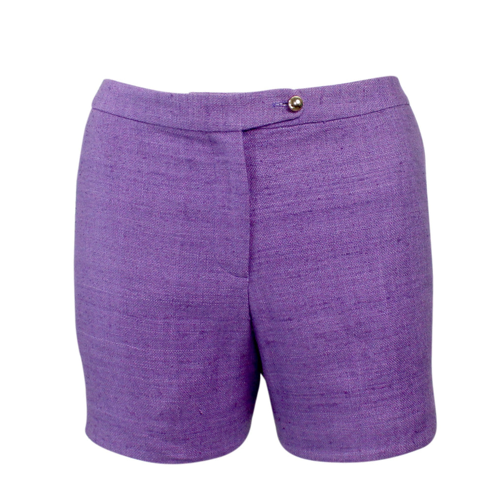 Leona by Lauren Leonard Violet Silk Linen Michel Short Size 6 Muse Boutique Outlet | Shop Designer Clearance Shorts on Sale | Up to 90% Off Designer Fashion