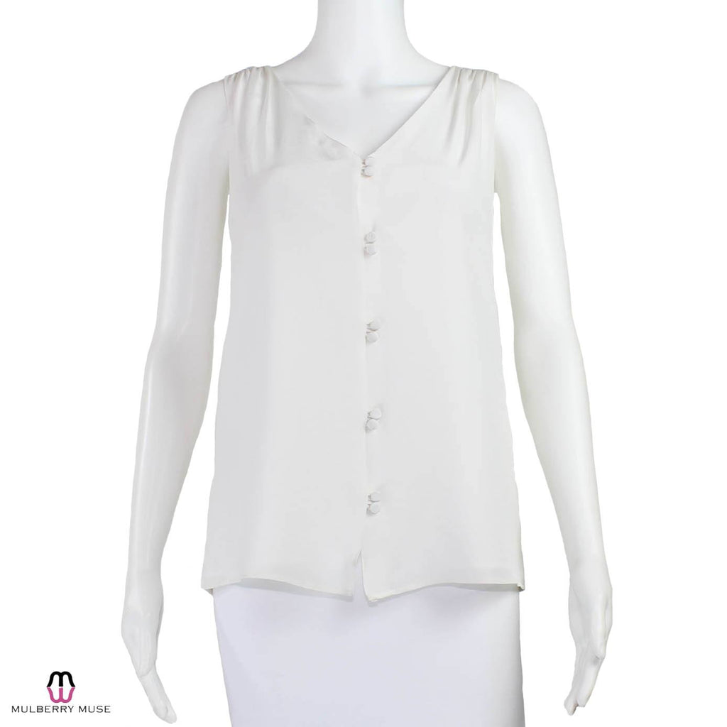 Leona by Lauren Leonard White Sleeveless Button-up Blouse Size 4 Muse Boutique Outlet | Shop Designer Clearance Tops on Sale | Up to 90% Off Designer Fashion